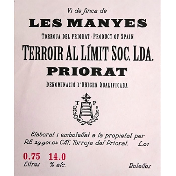 Terroir al Limit Les Manyes Garnacha 2015 (750ML)