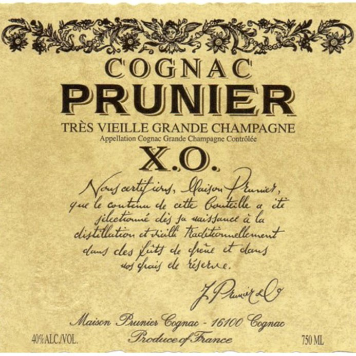 Prunier XO Tres Vieille  Grand Champagne Cognac (750ML)