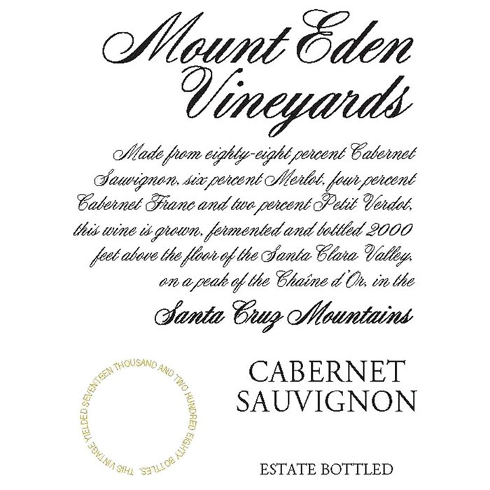 Mount Eden Estate Cabernet Sauvignon 2015 (750ML)