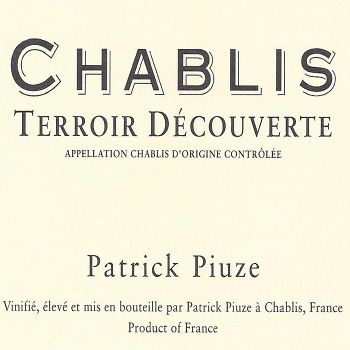 Chablis Terroir Decouverte Piuze 2019 (750ML)