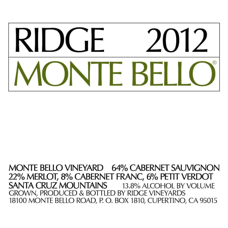 Ridge Vineyards Monte Bello Cabernet Sauvignon 2012 (750ML)